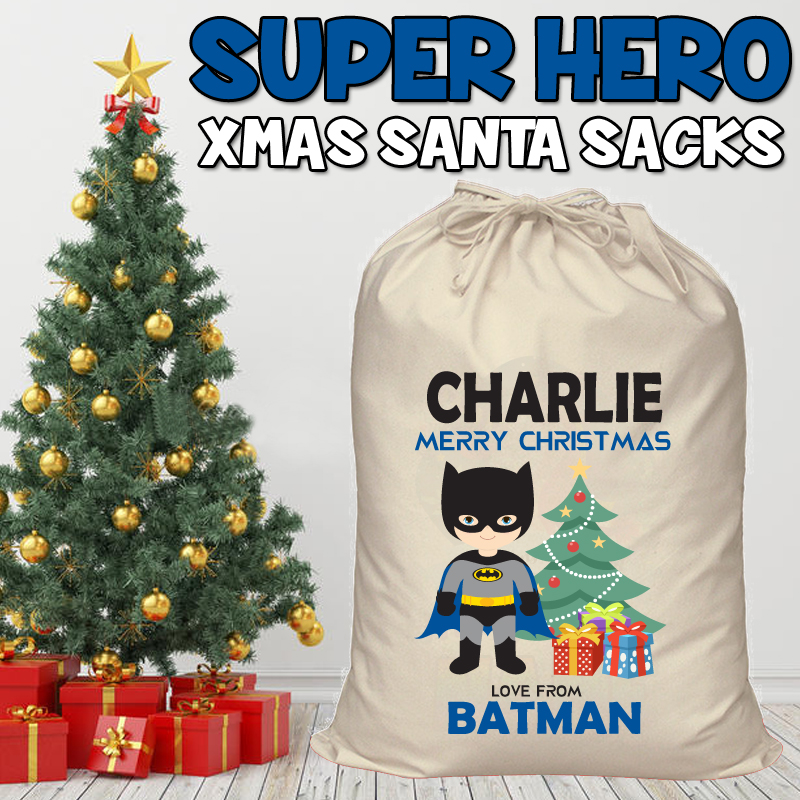 SUPER HERO STYLE CUSTOM PERSONALISED SANTA SACKS