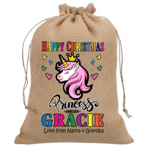 Classic Unicorn Xmas Hessian Sacks