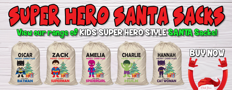 Superheor spiderman batman personalised santa sack