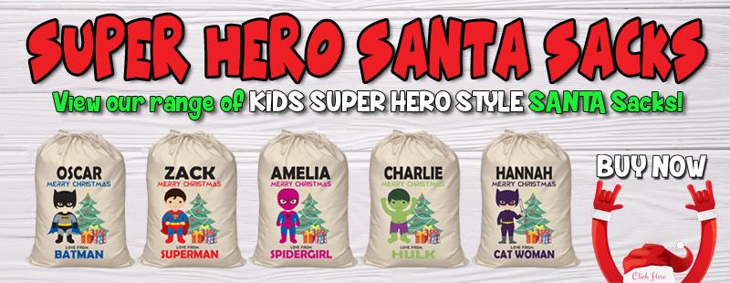 Superheor spiderman batman personalised santa sack